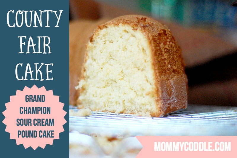 The BEST pound cake recipe I've ever tried. It has a crispy crust and is so moist on the inside. Wins at the county fair each year so it HAS to be good!