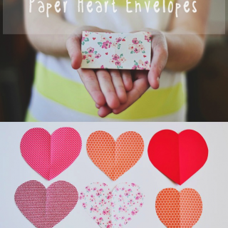 Tiny folded paper heart envelopes