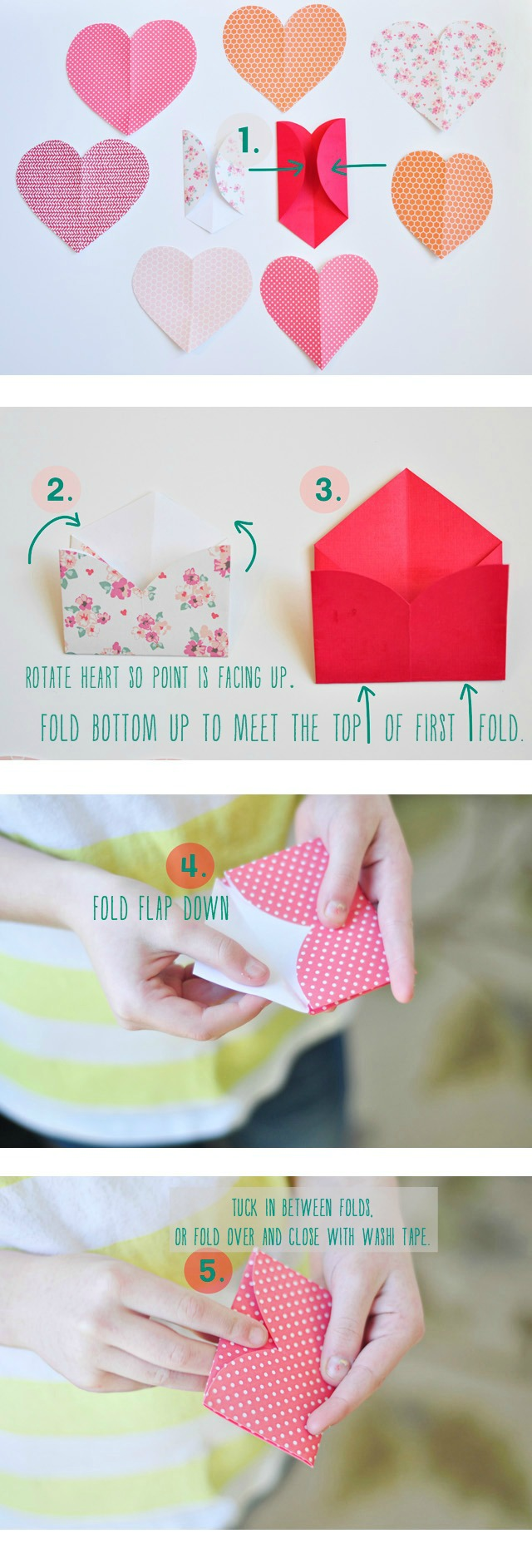 tutorial to fold paper hearts into envelopes
