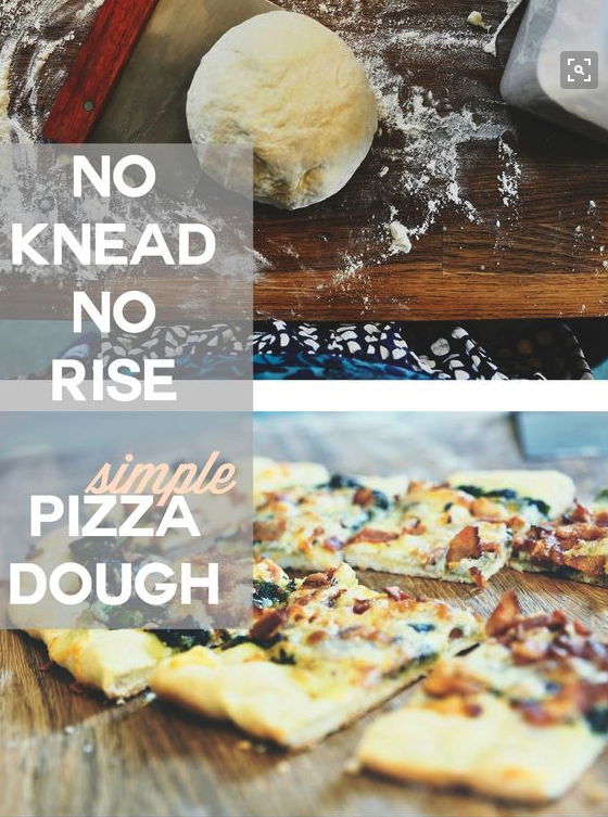 Love this recipe for easy pizza dough. Doesn't require any rising and just a little kneading. So easy.