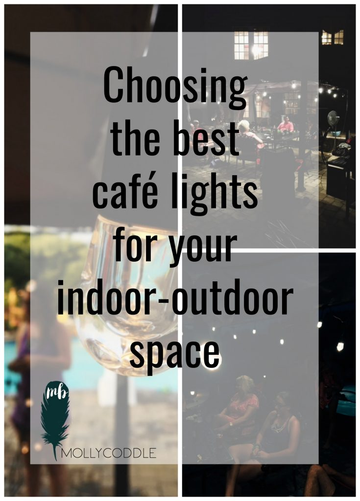 A review of really nice indoor-outdoor cafe string lights that are impact resistant and energy efficient. And what to look for when buying string lights. #EnbrightenLife