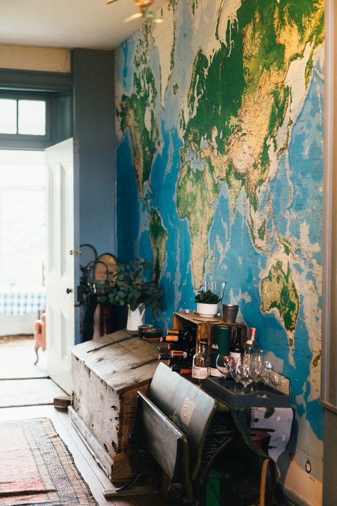 large wall map mural